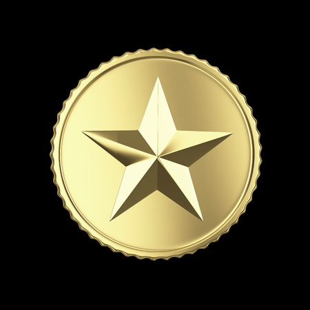 Golden medal with star on black with clipping path