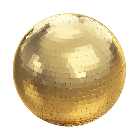 Golden disco ball on white  photo