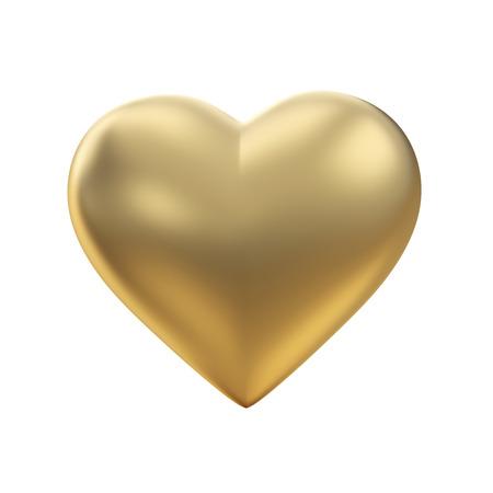 gold heart: Golden heart on white  Stock Photo