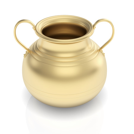 golden pot: 3D render of golden pot