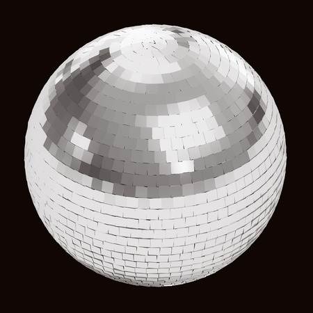 discoball: Silver disco ball on black background