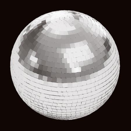 Zilver disco bal op zwarte achtergrond Stockfoto