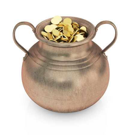 golden pot: Golden coins in pot   Stock Photo