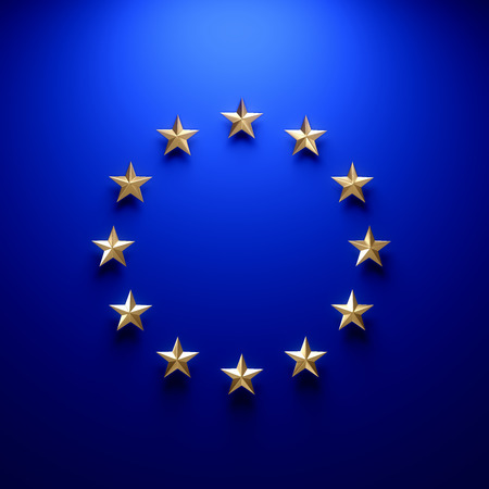 eu flag: European union flag on wall