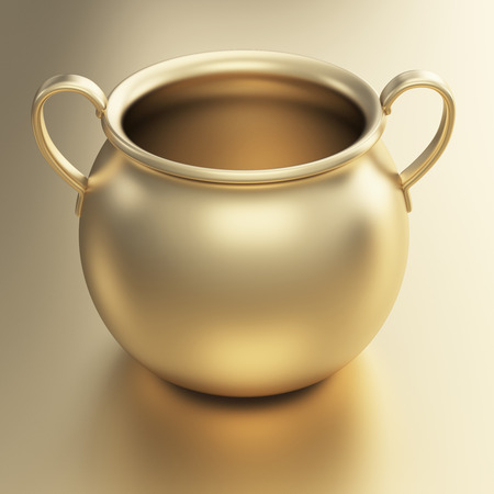 Golden pot 3d render   photo