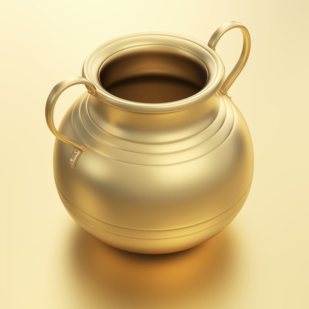 golden pot: 3D render of golden pot   Stock Photo