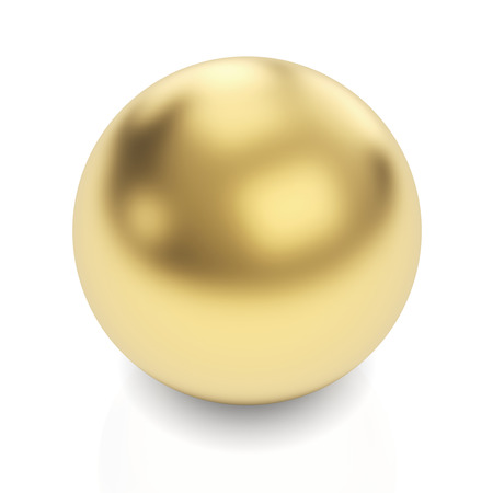 Golden sphere 3d render