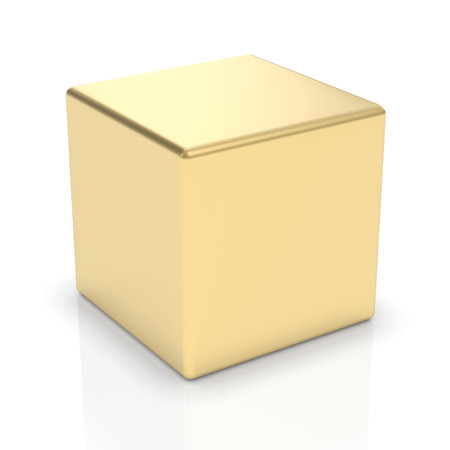 Golden 3d cube   photo
