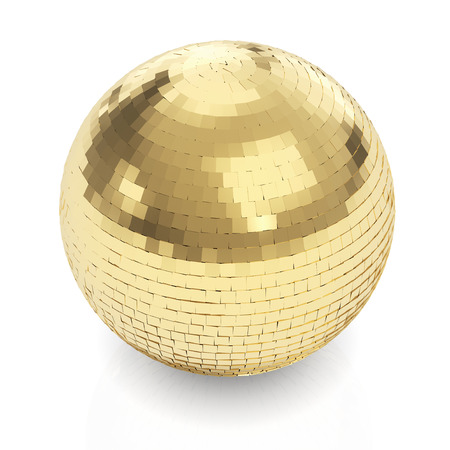 Mirror Ball: Golden disco ball on white