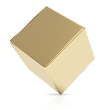 Gouden 3d kubus Stockfoto