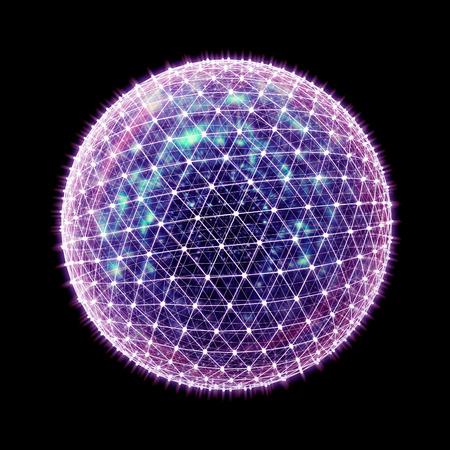 Abstracte 3d wereldwijde netwerk render op zwart