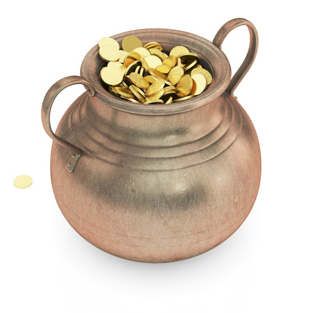 Golden coins in pot - 3D render isolated with clipping path  photo