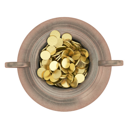 Golden coins in pot  photo