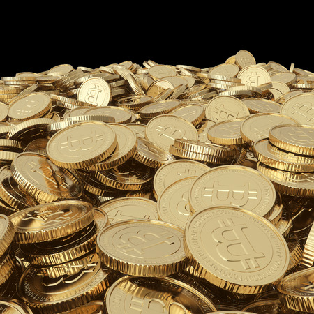 Golden bitcoin coins isolated with clipping path Stockfoto