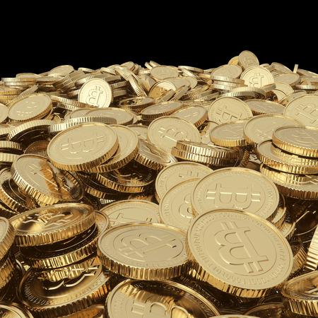 Gouden die bitcoinguntstukken met het knippen van weg worden geïsoleerd