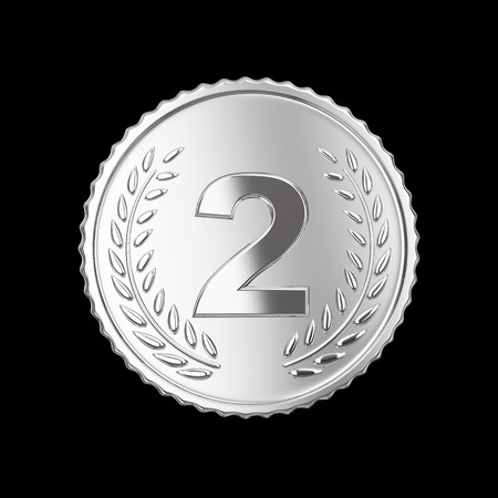 Silver medal on black   Stock Photo