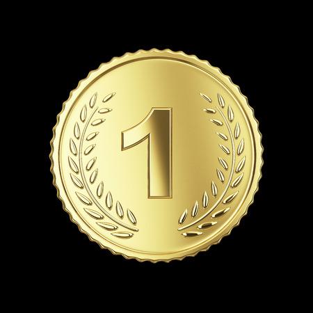 Gouden medaille op zwart Stockfoto - 24117470
