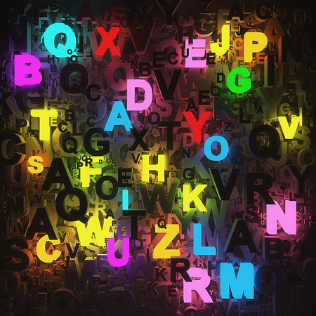 alphabetical order: 3D neon letters - computer generated  Stock Photo