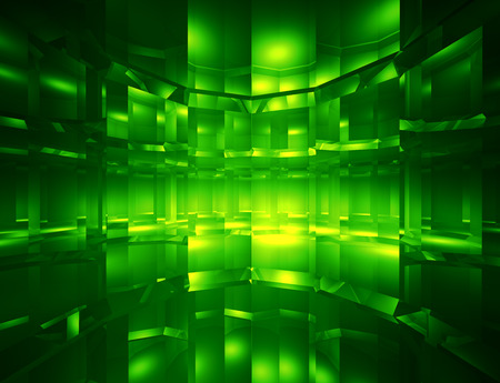 techno background: Abstract green digital space background - computer genaerated 3D illustration Stock Photo