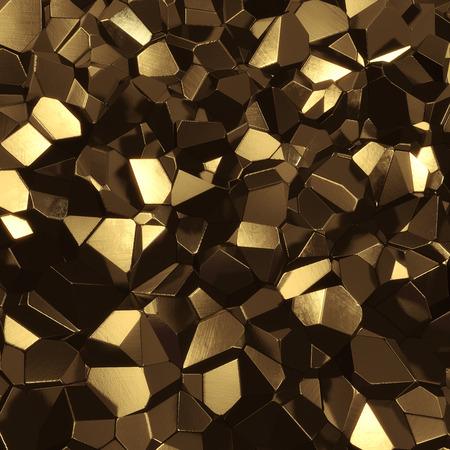 Abstracte gouden high tech geometrische 3d achtergrond - computer gegenereerd