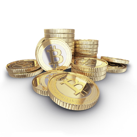 Golden Bitcoin cryptography digital currency coins   Foto de archivo