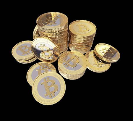Golden Bitcoin cryptography digital currency coins   Stock Photo