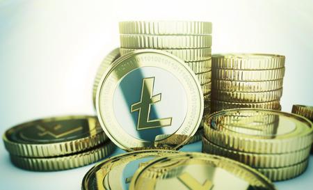 Golden Litecoin digitale munt munt Stockfoto - 25579174