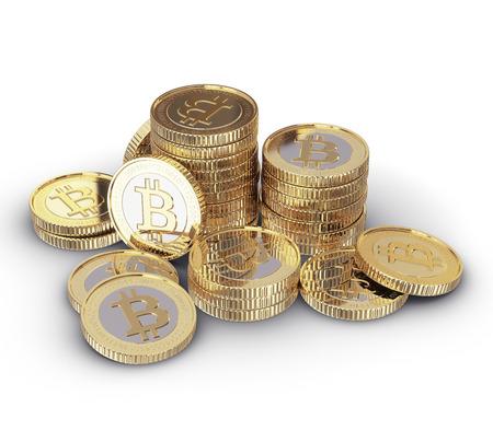 Golden Bitcoin digitale valuta Stockfoto - 25589045