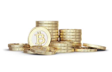 Golden Bitcoin digital currency Stockfoto