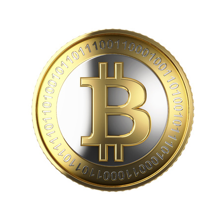 Golden Bitcoin digital currency Фото со стока