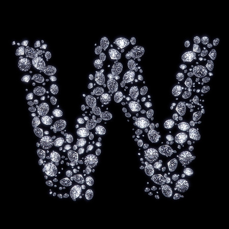 diamond letters: 3D Diamond letter W on black