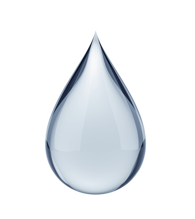 3D water drop on white