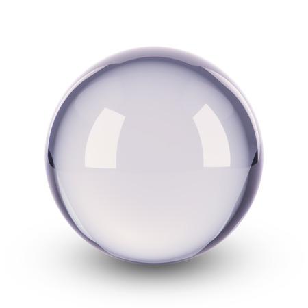 青い透明なガラス球 写真素材