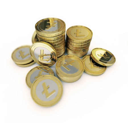 Golden Litecoin digital currency coin Stock Photo