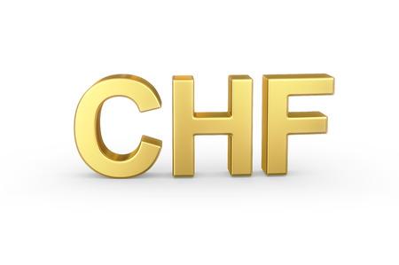 Gouden 3D CHF valuta Stockfoto