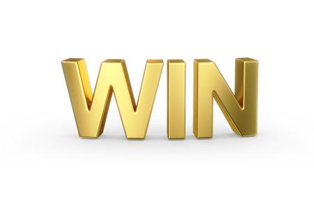 3D golden WIN word