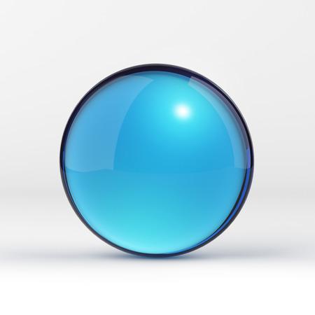 Blauwe heldere glazen bol op wit Stockfoto