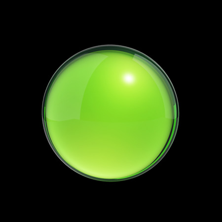 3d ball: Green ball isolated on black