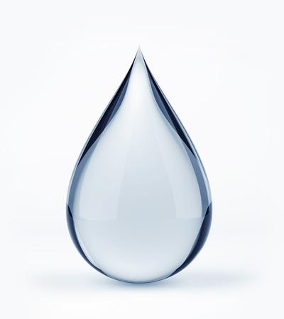 in tears: Gota de agua 3D en blanco