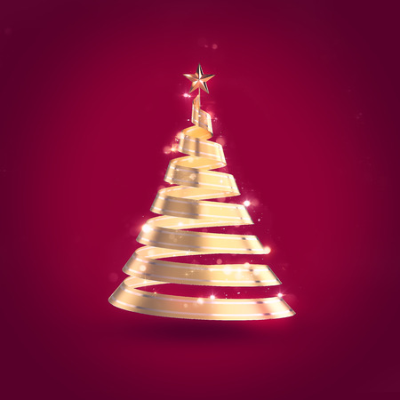 original sparkle: Abstract 3D christmas golden ribbon tree