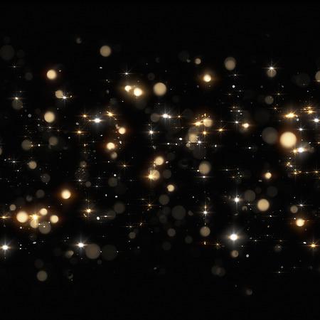 nowy rok: Christmas Złoty błyszczy na czarnym tle