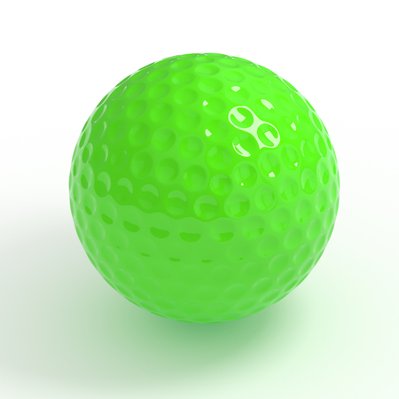 golfball: Isolated green golf  ball with clipping path Stock Photo