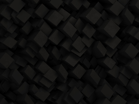 Abstract black 3D geometric background made by dark polygon boxes Banco de Imagens