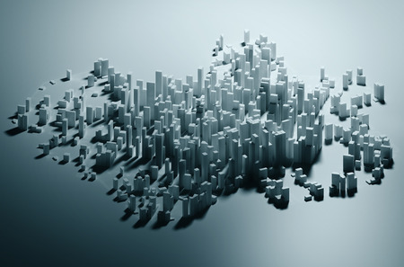 Abstracte eenvoudige papierstad achtergrond met wolkenkrabbers