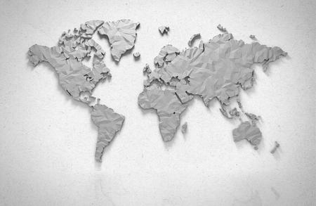 Origami 3D-kaart van de wereld die met het knippen van weg