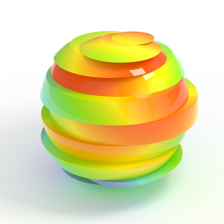 sex discrimination: Colorful sliced rainbow ball isolated with clipping path