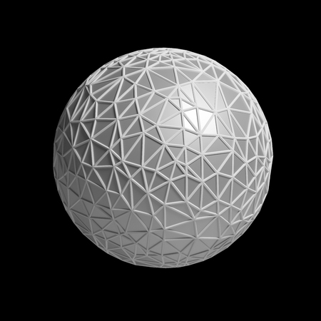futurictic: triangular 3D sphere on black  isolated with clipping path
