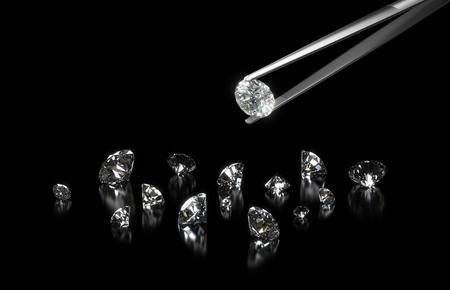 Luxe diamanten in pincet close-up met donkere achtergrond Stockfoto - 45136331