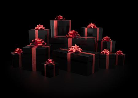 Stapel van geschenkdozen op zwart geïsoleerd met clipping path Stockfoto
