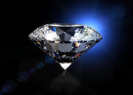 diamante negro: Gran diamante en fondo negro aislado con trazado de recorte